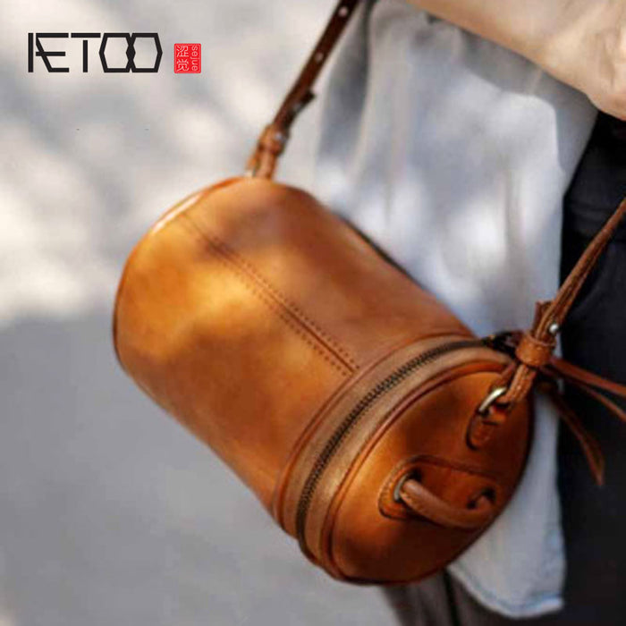 AETOO Hand-shoulder shoulder back portable female casual leather cowhide Messenger bag Japanese barrel