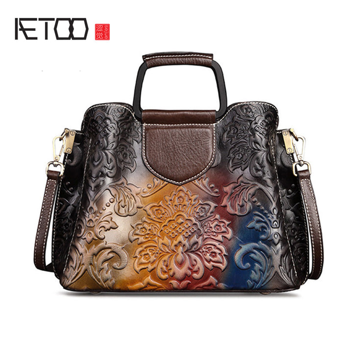 AETOO Leather women's bag, retro lady handbag, fashion crossbody bag, cowhide shoulder casual wipe color leather bag