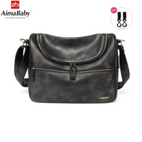 AIMABABY PU Leather Baby Travel Mom Mummy Daddy Maternity Nappy Diaper Bag