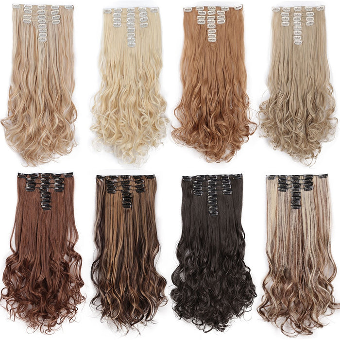 AISI BEAUTY 8 Pcs/set 18 Clips Long Wavy Synthetic Clips In Hair Extensions For Women Hairpieces Black Brown Fake Hair Natural