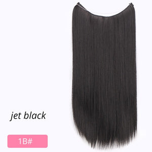 AISI BEAUTY Natural No Clips in Hair Extensions Long Synthetic Fish Line Straight Hair Extensions Secret Invisible Hairpieces
