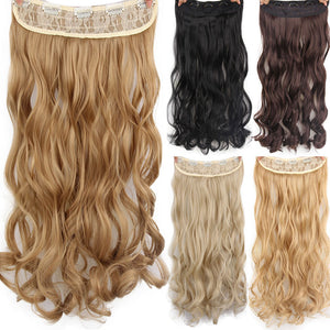 "AISI HAIR 22"" 17 Colors Long Wavy High Temperature Fiber Synthetic Clip in Hair Extensions for Women"