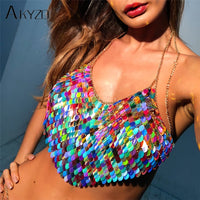 AKYZO Sexy Halter Chain Scales Sequins Crop Top 2018 Summer Beach Backless