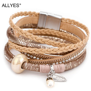 ALLYES Braided Leather Bracelet for Women Femme Natural Pearl Cystal Ceramic Charm Multilayer Bracelets & Bangles Female Jewelry