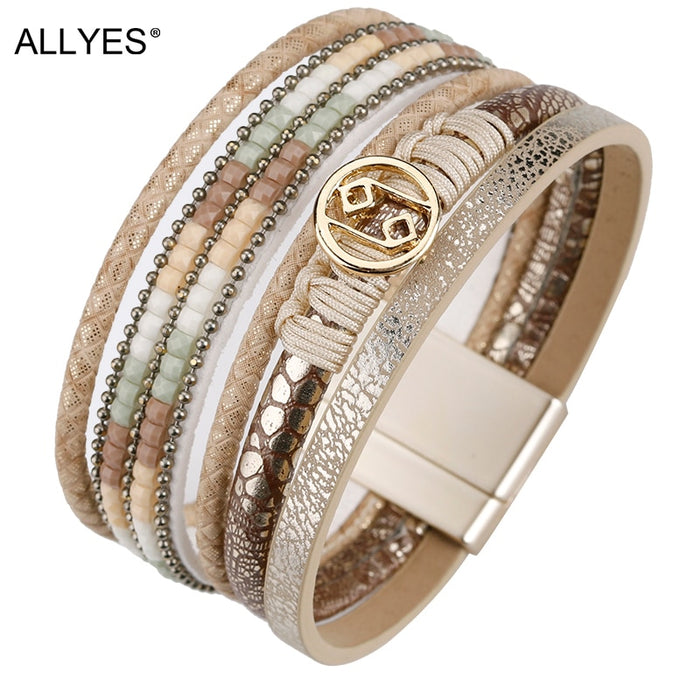 ALLYES Multilayer Bracelets for Women Rope Metal Charm Bohemian Leather Bracelet Female Wide Bracelets & Bangles Femme Jewelry