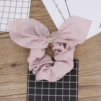 ALTOBEFUN Cute Rabbit Ear Striped Hair Accessories Elastic Hair Band