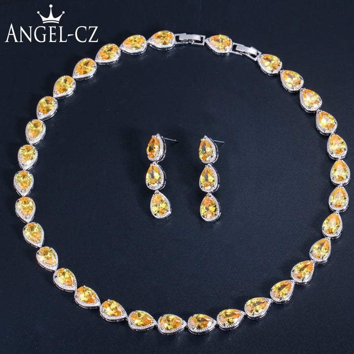 ANGELCZ Brilliant Pear Cut Austrian Yellow Crystal 2 Piece Party Jewelry Sets Fashion Drop Earrings Necklace Set For Women AJ047