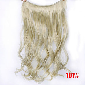 AOSIWIG 22'' Long Gray Blonde Synthetic Hair Heat Resistant Hairpieces Fish Line Halo Invisible Wavy Hair Extension