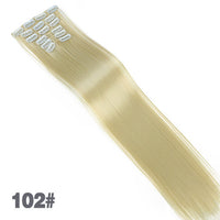 AOSIWIG 6Pcs Long 24 inches Striaght Real Thick Full Head Clip in on Hair Extensions Natural Synthetic Hairpieces for Women