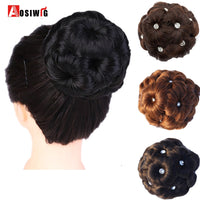 AOSIWIG Hair Curly Chignon Bun Donut Clip In Hairpiece Extensions For Women Synthetic High Temperature Fiber Chignon