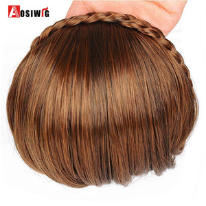 AOSIWIG Short Bangs Braid Blunt Natural  Hairpieces Heat Resistant Synthetic Women Hair 2 Styles Available Natural Fake Hair