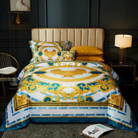 High-end French Italy Design Yellow Pattern Print 4PCS Bedding Sets 2020