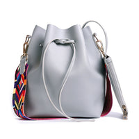 AUAU Women bag with Colorful Strap Bucket Bag Women PU Leather Shoulder Bags Designer Ladies Crossbody messenger Bags