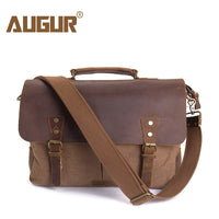 Leather Vintage Messenger shoulder Bag for Men and Women Canvas Back
