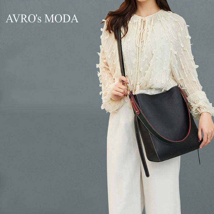 AVRO's MODA Brand luxury PU leather shoulder bucket bags for women 2019 ladies retro large capacity crossbody bag messenger bags