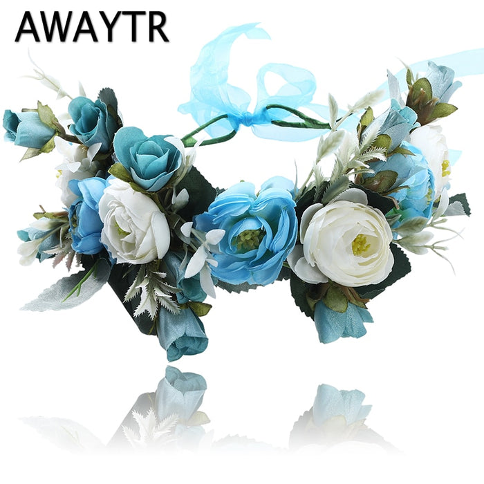 AWAYTR 2019 New Spring Fashion Wedding Crown Flower Headbands for Women Photograph Hair Accessories Floral Head Garland