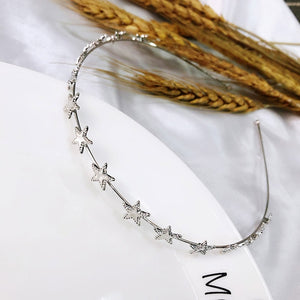 AWAYTR Fashion Gold Sliver Metal Star Hairband for Women Sweet Wedding Hair Accessories Tiara Elegant Girls Headband Headwear