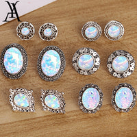 AY Bohemian Geometry Hollow Opal Earrings Set For Women Vintage Stone Stud Earrings Female Statement Brincos Jewelry Party Gift