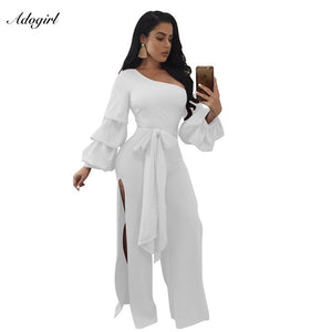 Adogirl 2017 New One Shoulder Lantern Long Sleeve Side Slits Jumpsuits Solid Sashes