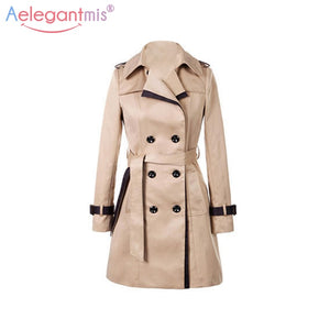 2019 Autumn  Long Trench Coat Khaki With Belt Classic Casual Business Fall