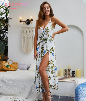 Aelegantmis 2019 Summer Elegant Deep V Neck Jumpsuit Women Sexy Loose Slit