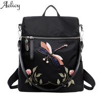 Aelicy Fashion Backpacks Nylon Women Backpack School Bags for Teenage Female Dragonfly Embroidery Practical Backpack Women