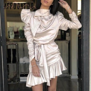 Affogatoo Sexy elegant ruffle ruched satin dress women Vintage Long sleeve