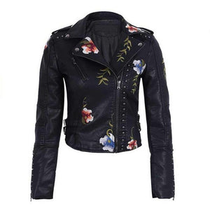 Soft Leather Jacket Women Embroidery Floral Faux Leather Jacket