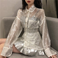 Stylish Sequins Elegant Female Single Breasted Sweet Summer All-Match