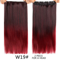 "Alileader 22"" 120G Long Straight Hair Extension Black Artificial False Synthetic Hairpiece Purple 26 Colors Available Ombre Clip"