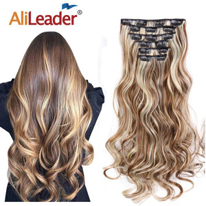 "Alileader 22""Synthetic Long Curly Hair Heat Resistant Light Brown Gray Blond Thick Women Hair Extension Set Clip In Ombre Hair"