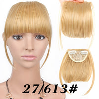 Alileader Synthetic 100% Real Natural Hairpiece Heat Resist Short Straight Front Neat Bangs Clip in Bang Fringe Hair Extensions