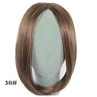 "Allaosify 10"" Bangs Girls Side Bangs Fake Fringe Synthetic Clip In Hair Extensions Brown Middle Part Clip on Bangs Fake Bangs"