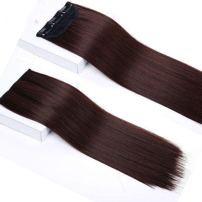 Allaosilf Long Straight Synthetic Women Clip In Hair Extensions Heat Resistant Synthetic Hair Extensions 3 Clip In Hairpiece