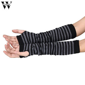 Amazing Women Ladies Knitted Elbow Length Winter Fingerless Gloves Stripe Mitten Christmas Gifts