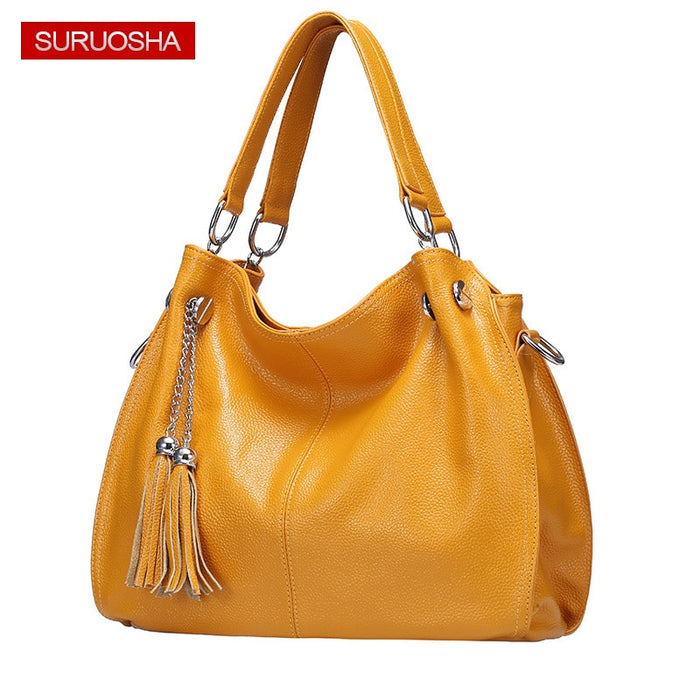 Amazon Yellow Women 100% Genuine Leather Hobo Bag Female Real Leather Handbag Luxury Woman Office Fashion Bag Large Bags