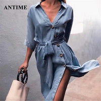 Casual Sashes Midi Denim Dress Women Half Sleeve Elegant