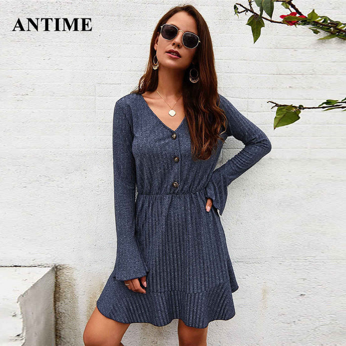 Flare Long Sleeve Women Dress Casual Winter V Neck Solid Mini A-Line Party