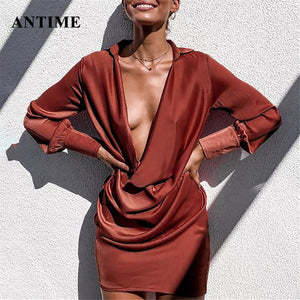 Antime Sexy Deep V Neck Satin Women Dresses Draped Long Sleeve Slim Silk Autumn