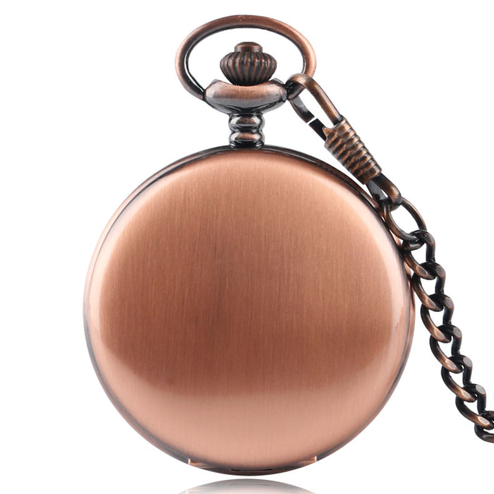 Antique Stylish Smooth Red Copper Case Pocket Watch Quartz Fob Chain Pendant Gift For Men Women Full Hunter Vintage Steampunk
