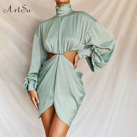 ArtSu Turtleneck Puff Sleeve Satin Dress Women Hollow Out Sexy Backless Zipper