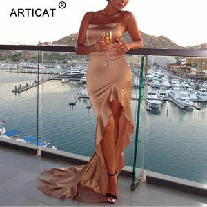 Articat Irregular Ruffles Sexy Long Maxi Christmas Dress Women Red Satin Backless