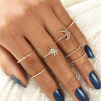 Artilady bohemian midi ring set stacking rings for women star moon collection midi rings