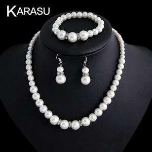 Attractive Luxurious Smooth Simulated Pearl Bracelet Necklace Earring Set for Women 3-Piece Jewelry Set