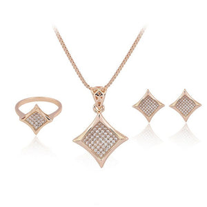 Austrian Rhinestone Rose Gold-color Zircon Great Shining Rhombic Ring Necklace Earring Set for Women 3-Piece Jewelry Set