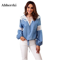 Autumn Blusa Feminina Denim Blue Women's Clothing Tops and Blouses V - Neck Lace Appliques Long Sleeve Shirt Blouse Femme