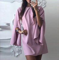Autumn Dress 2019Top Fashion Women Sexy O-Neck Solid Slit Flare Sleeve Short Mini