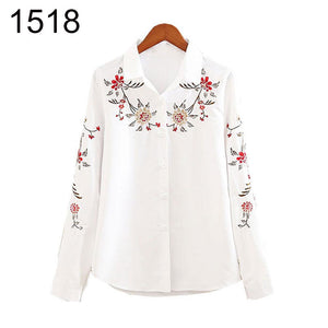 Autumn Fashion Embroidered Floral Print Long Sleeve Tops Shirt Turndown Collar Women Blouse Shirt Plus Size