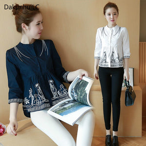 Autumn Floral Embroidered Shirts Blusa Tassel Three Quarter Sleeve Loose Split Hem Ethnic Women Tops