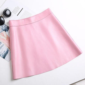 Autumn Genuine leather skirts women sexy  High waist a line Package hip OL sheepskin